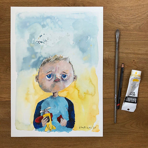 'Broken Toy' - Mixed Media painting of a Sad Boy