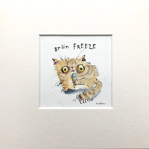 'Brain Freeze' cat painting- watercolour and ink drawing