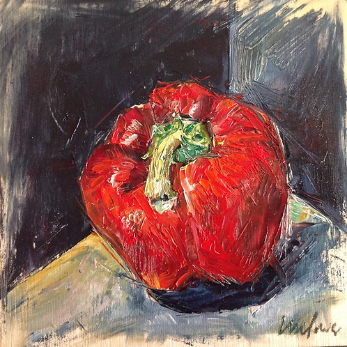 Red Pepper - Framed Still Life Oil Painting on Board