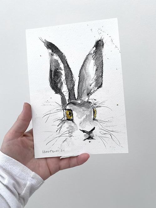 Watchful Hare #02 - charcoal and Ink wash drawing on paper - A5 148mm x 210mm