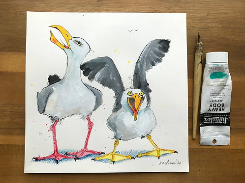'Larking about' - A Seagull painting