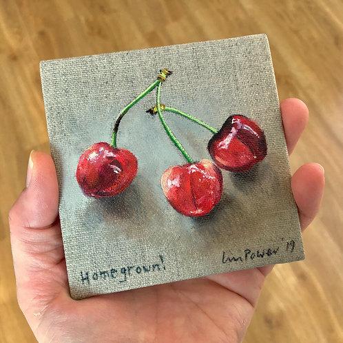 Cherries - still life oil painting on  linen