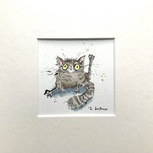 'Grey Tabby interrupted' cat painting- watercolour and ink drawing