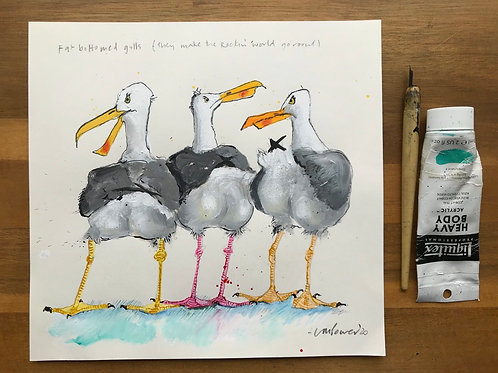 'Fat bottomed Gulls (they make the Rockin' world go 'round)'- A Seagull painting