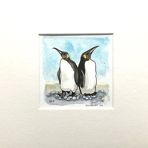 'Emperors at Odds' - Miniature watercolour Penguin Painting