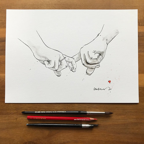 Holding hands #02b - Original A4 pen & ink drawing/painting with graphite wash
