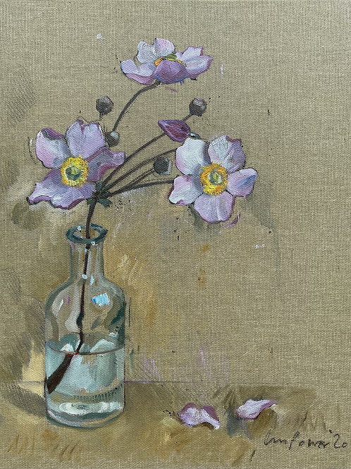 'Japanese Anemone' - Still life oil painting on unbleached canvas