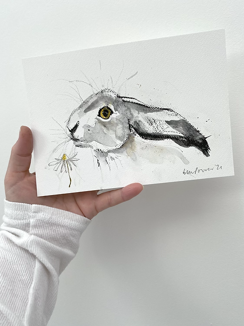 Daisy Hare #09 - charcoal and Ink wash drawing on paper - A5 148mm x 210mm
