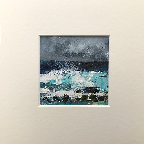 Rocks and spray - miniature seascape painting