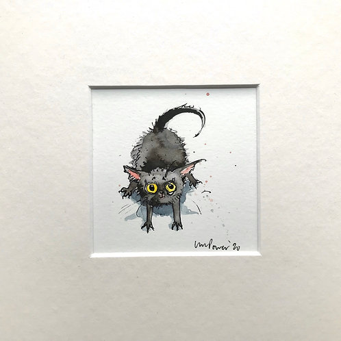 'Yoga Kitty' cat painting- watercolour and ink drawing