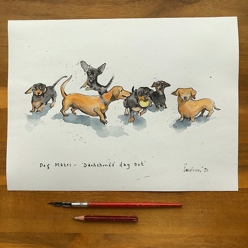 Dog Mates, 'Dachshunds' Day Out' - ink and watercolour painting