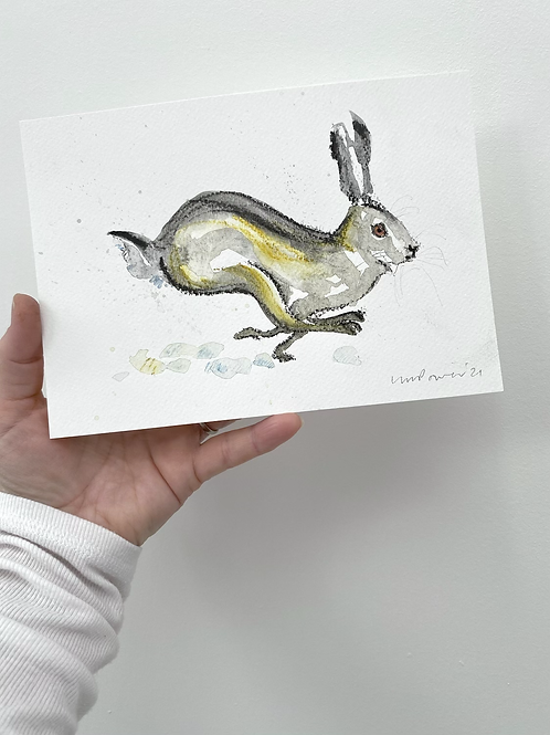 Running Hare #03 - charcoal and Ink wash drawing on paper - A5 148mm x 210mm