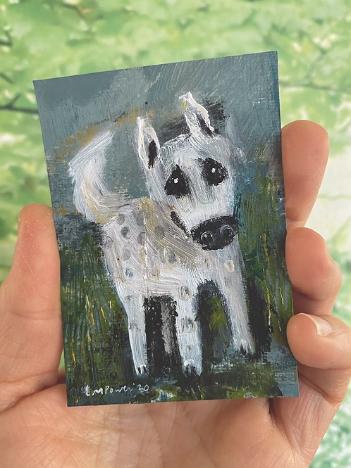 "'White Dog' - miniature Dog painting ACEO 2.5"" x 3.5"""