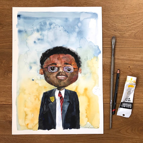 'Prefect' - Mixed Media painting of  boy in a Blazer