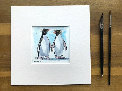 'Rockhopper Besties' - miniature Penguin painting