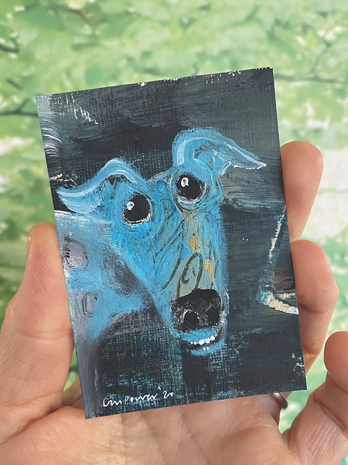 "'Blue Whippet Smiles' - miniature Dog painting ACEO 2.5"" x 3.5"""