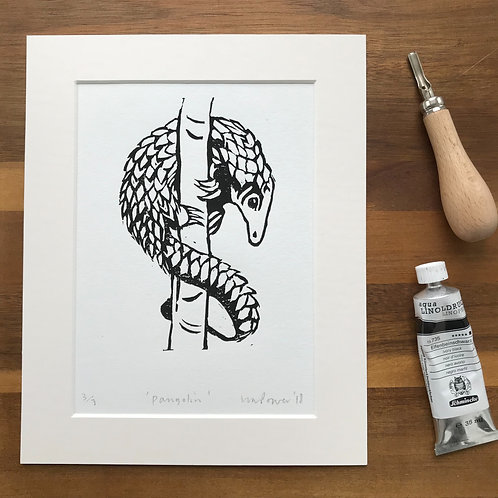 Pangolin - linocut Print - No. 3 of 7