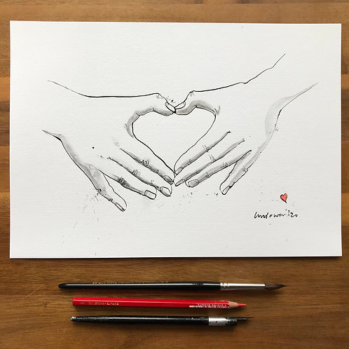 Heart hands #03b - Original A4 pen & ink drawing/painting with graphite wash