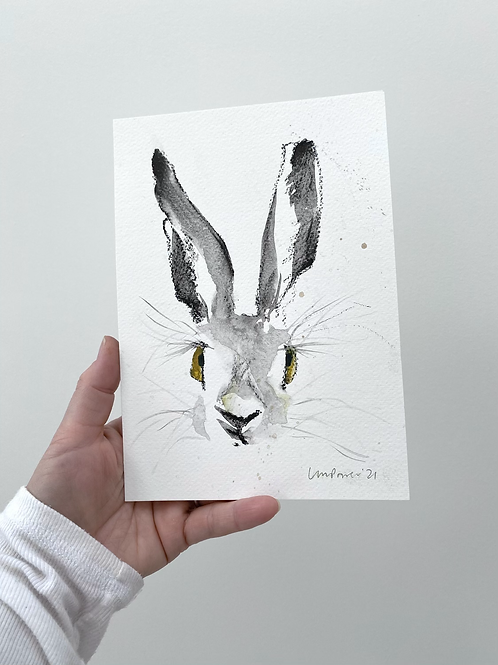 Smirking Hare charcoal and Ink wash drawing on paper  #01 - A5 148mm x 210mm
