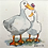 Thumbnail: 'Duck, Duck, Butterfly' - mini painting of two white ducks