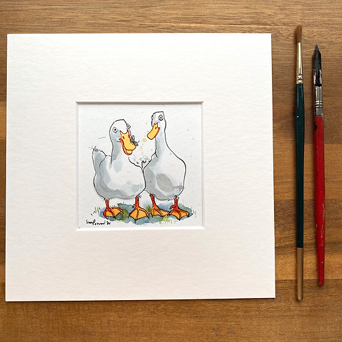 'Fluff on a Duck' - mini painting of two white ducks