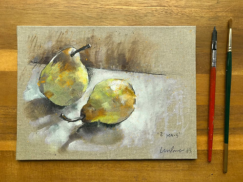 'Two Pears' - Still life oil painting on unbleached canvas