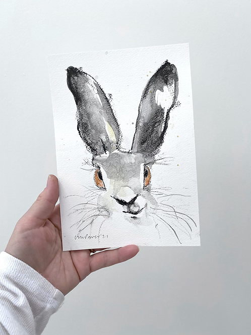 Smirking Hare charcoal and Ink wash drawing on paper  #04 - A5 148mm x 210mm
