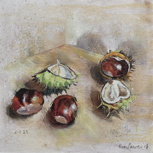 'Conkers' - Still life oil painting of conkers on prepared board