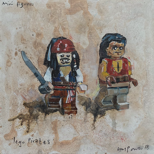 'Lego Pirates - Still life oil painting on prepared board