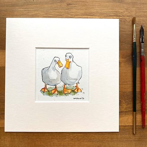 'Duck Buddies #01' - mini painting of two white ducks