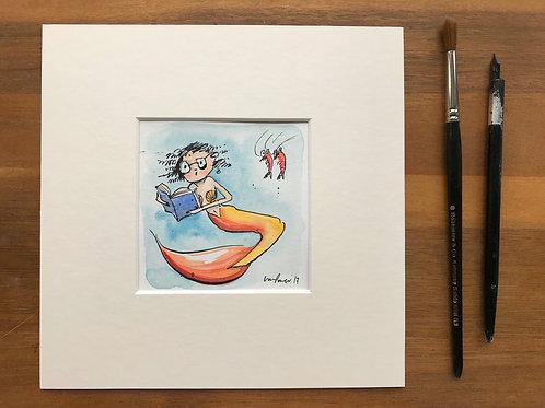 Original Mermaid painting 'Bookwork mermie' - ink and watercolour miniature