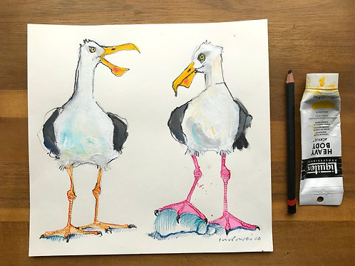 'Heated Debate' - A Seagull painting