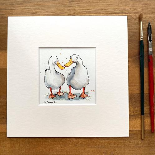 'Duck Buddies #02' - mini painting of two white ducks