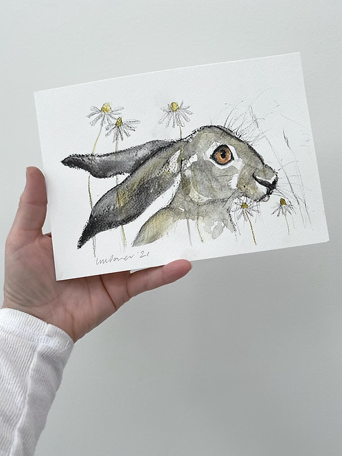 Daisy Hare #10 - charcoal and Ink wash drawing on paper - A5 148mm x 210mm