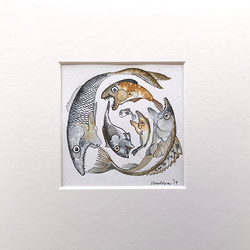 Fish eating fish #01 - Original comical pen & ink drawing with watercolour