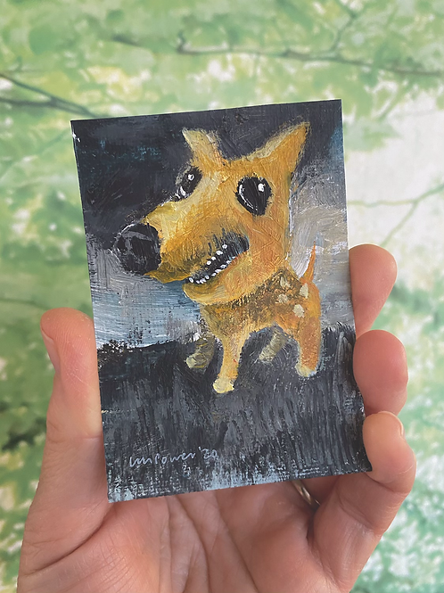 "'Happy Puppy' - miniature Dog painting ACEO 2.5"" x 3.5"""
