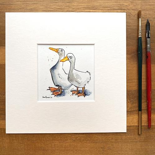 'Duck Mates #02' - mini painting of two white ducks