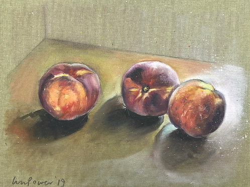 'Three Peaches' - Still life oil painting on unbleached canvas