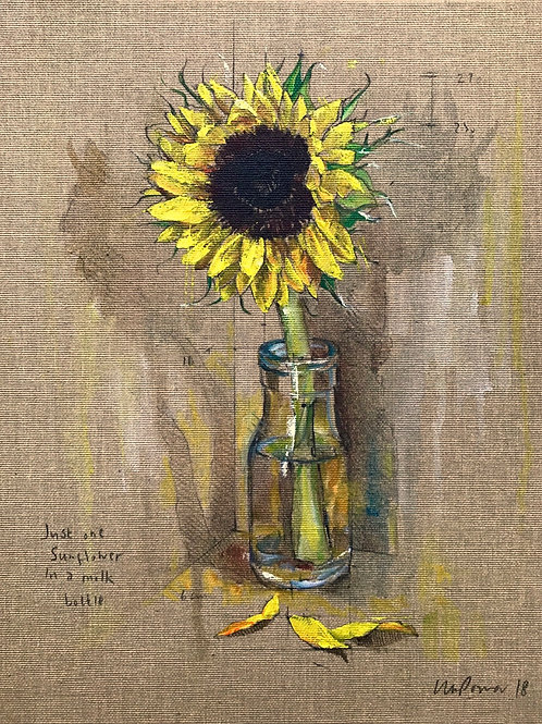 'Sunflower' - Still life oil painting on unbleached canvas