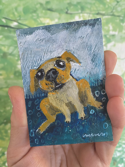"'Sliding Dog' - miniature Dog painting ACEO 2.5"" x 3.5"""