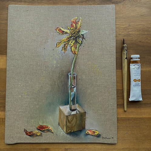'Faded Dahlia' - Still life oil painting on unbleached canvas