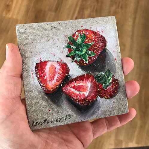 Strawberries still life - oil painting on linen board