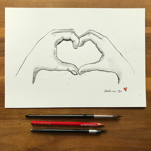Heart hands #02b - Original A4 pen & ink drawing/painting with graphite wash