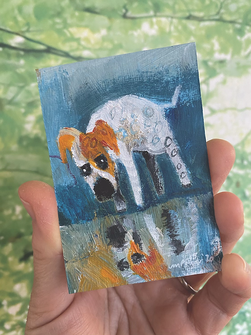 "'Reflecting Dog' - miniature Dog painting ACEO 2.5"" x 3.5"""