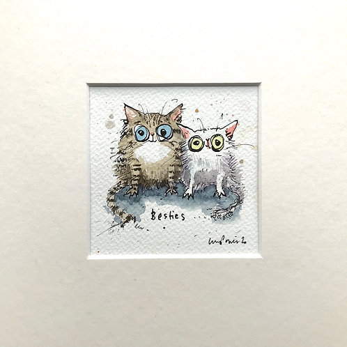'Cat Besties' #02 cat painting- watercolour and ink drawing