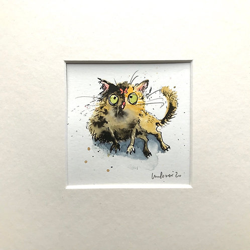 'Tortoiseshell & Butterfly' cat painting- watercolour and ink drawing