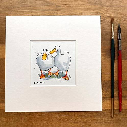'Duck Besties #01' - mini painting of two white ducks