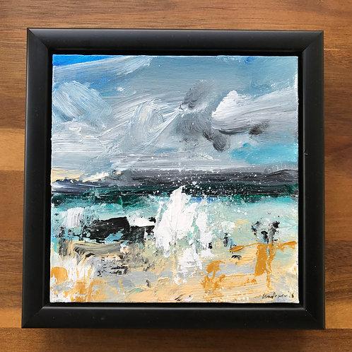 'Beach Spray' - 15cm x 15cm Framed seascape