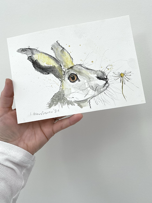 Daisy Hare #11 - charcoal and Ink wash drawing on paper - A5 148mm x 210mm