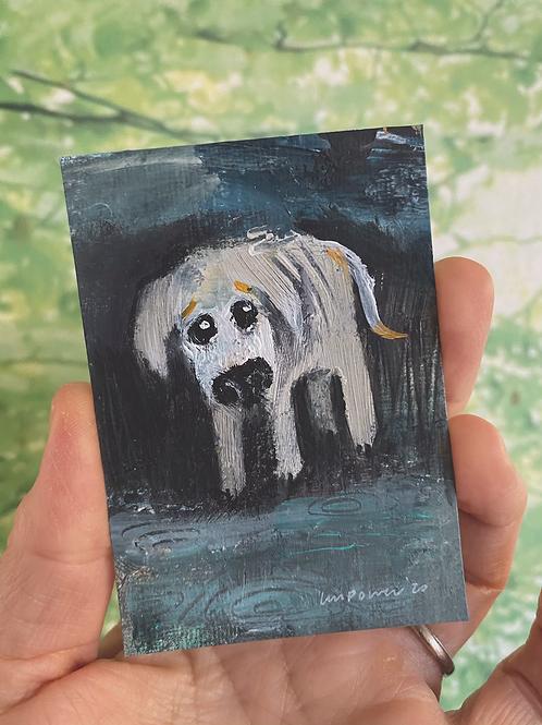 "'Sad Dog' - miniature Dog painting ACEO 2.5"" x 3.5"""